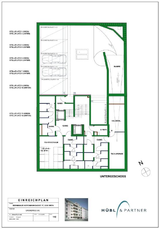 Tiefgaragenabstellplatz Nähe Alte Donau Garagenplan