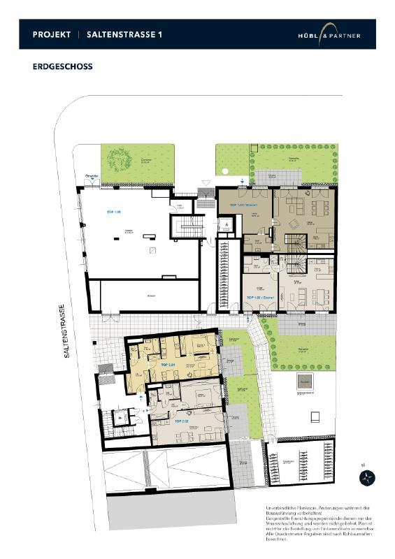 NEUBAU | Gewerbefläche im Erdgeschoß mit Freifläche (50 m²) Geschoßplan_Saltenstraße_EG